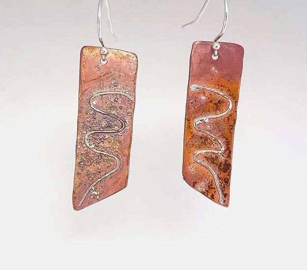 """Switchback"" - Fused Silver & Copper Earrings"