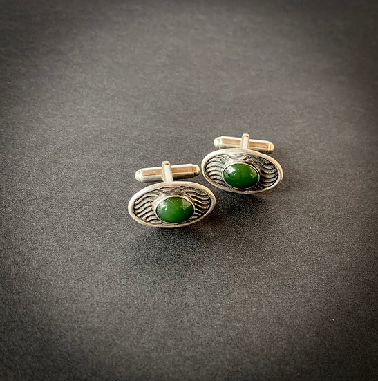 Wyoming Jade & Fine Silver Cuff Links