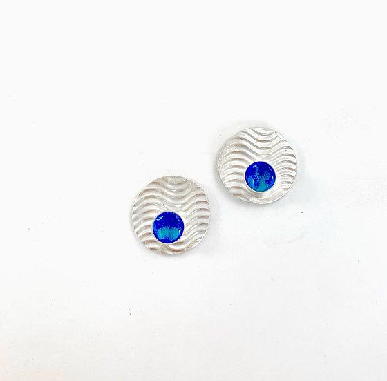 Ocean Blue Enamel & Sterling Earrings