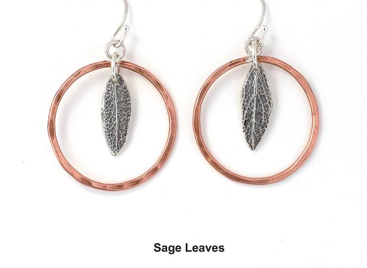 Natural Leaf Earrings - Sterling Silver & Copper