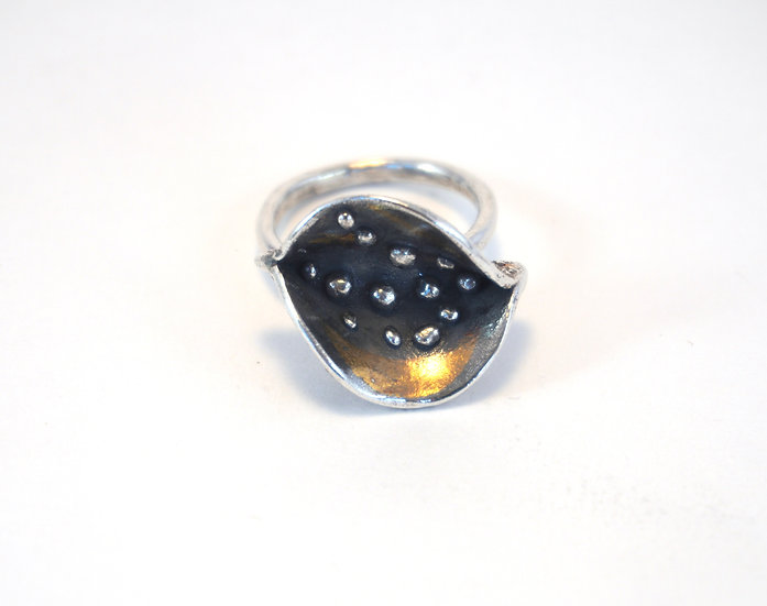 """""""Water Peas"""" - Silver & 24k Gold Ring"""