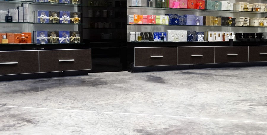 Bautech Flooring UK,Polished Concrete Floor in cosmetics shop,Power floating concrete floor finish,Installation Ultima Baufloor,UK,Polished Concrete Supplier in UK