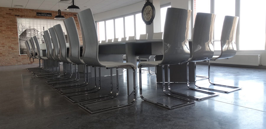 Polished concrete floor in conference room