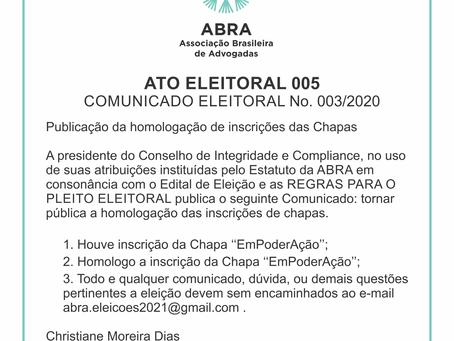 ATO ELEITORAL 005   COMUNICADO ELEITORAL No. 003/2020