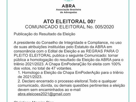 ATO ELEITORAL 007   COMUNICADO ELEITORAL No. 005/2020