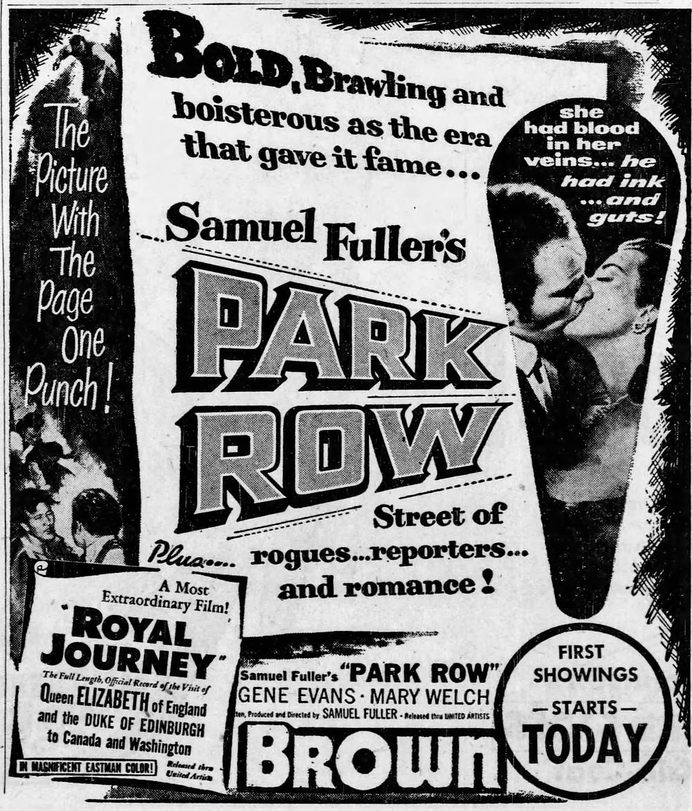 Samuel Fuller, Sam Fuller, Park Row, Gene Evans, Mary Welch, Tina Pine, Tina Rome, Gloria DiMaggio