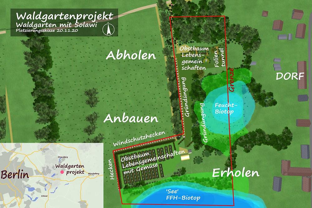 Großes Waldgartenprojekt Rehfelde in der Nähe von Berlin.
