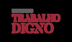 Logomarca do Instituto Trabalho Digno. Nome Instituto na cor cinza e nomes trabalho digno na cor vinho
