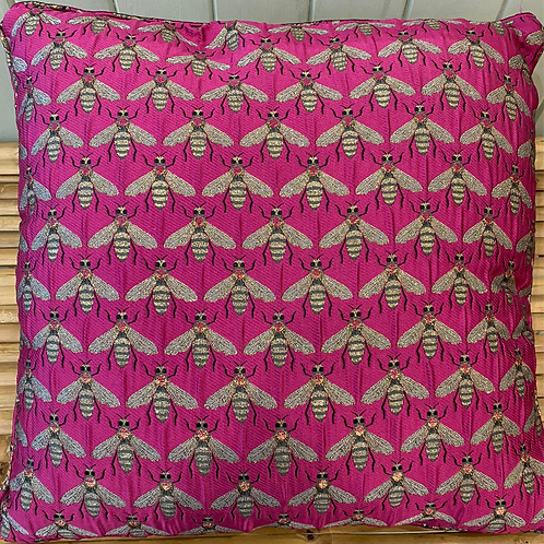 Pink Bee Jacquard Cushion