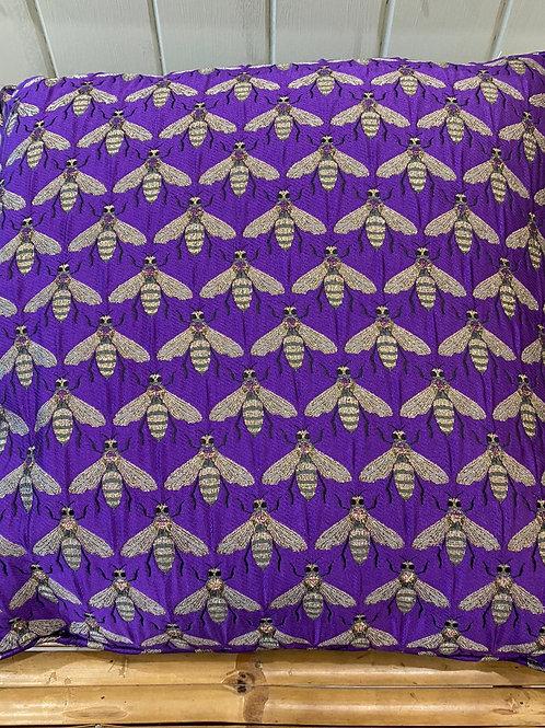 Purple Bee Jacquard Cushion