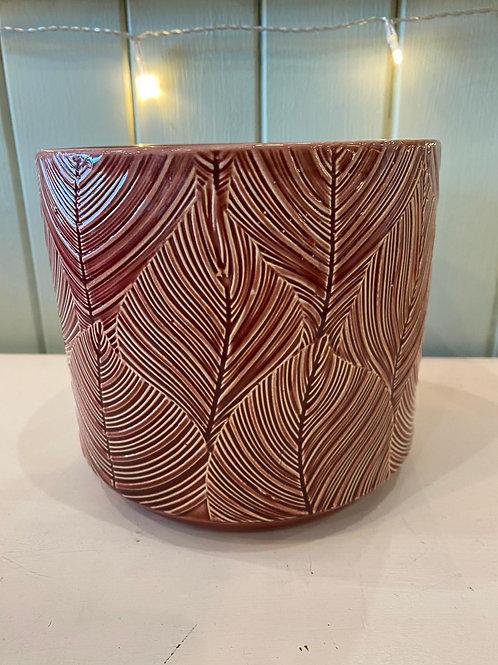 Red Leaf Ceramic Pot