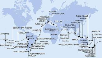 MSC lança cruzeiro que dá a volta ao mundo em 117 dias passando por 23 países