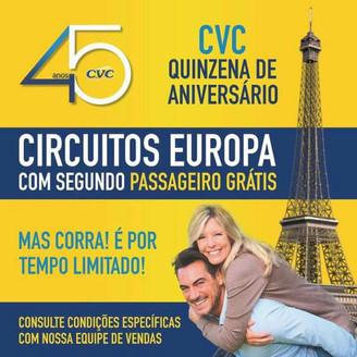 Promoção da CVC tem segundo passageiro grátis para EUA, Europa e Canadá