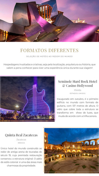 Seleção de Hotéis com Formatos Diferentes