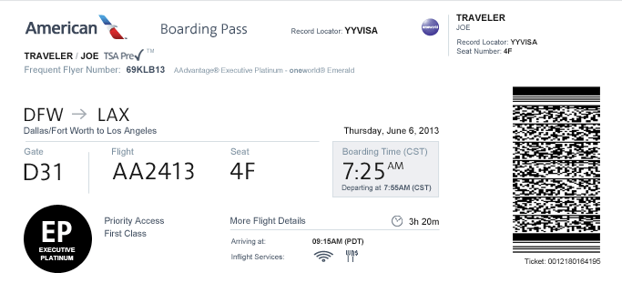 Boarding Pass American Airlines