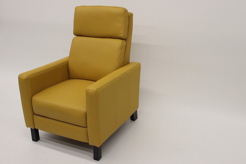 Yellow Leather Club Reclining Chair