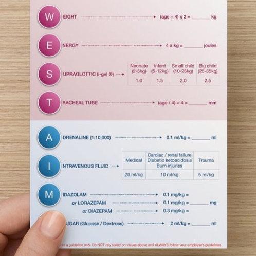'WEST AIMS' Paediatric Card