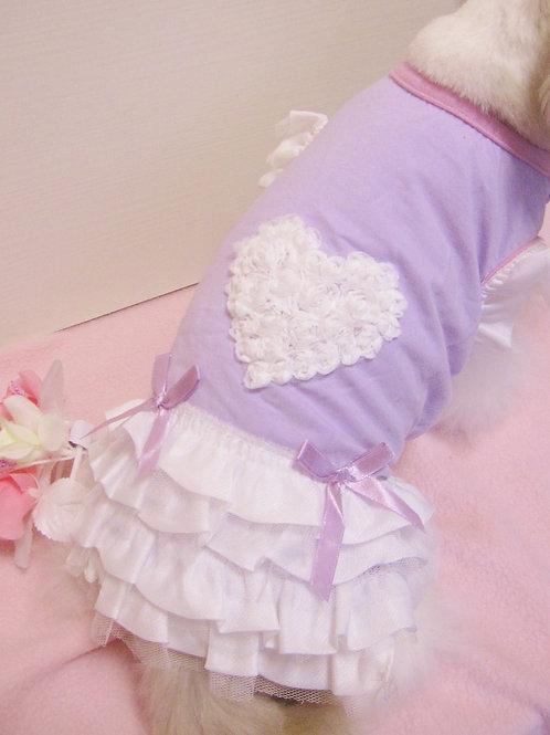 お花でハート リボンフリル ワンピース パープル×ホワイト