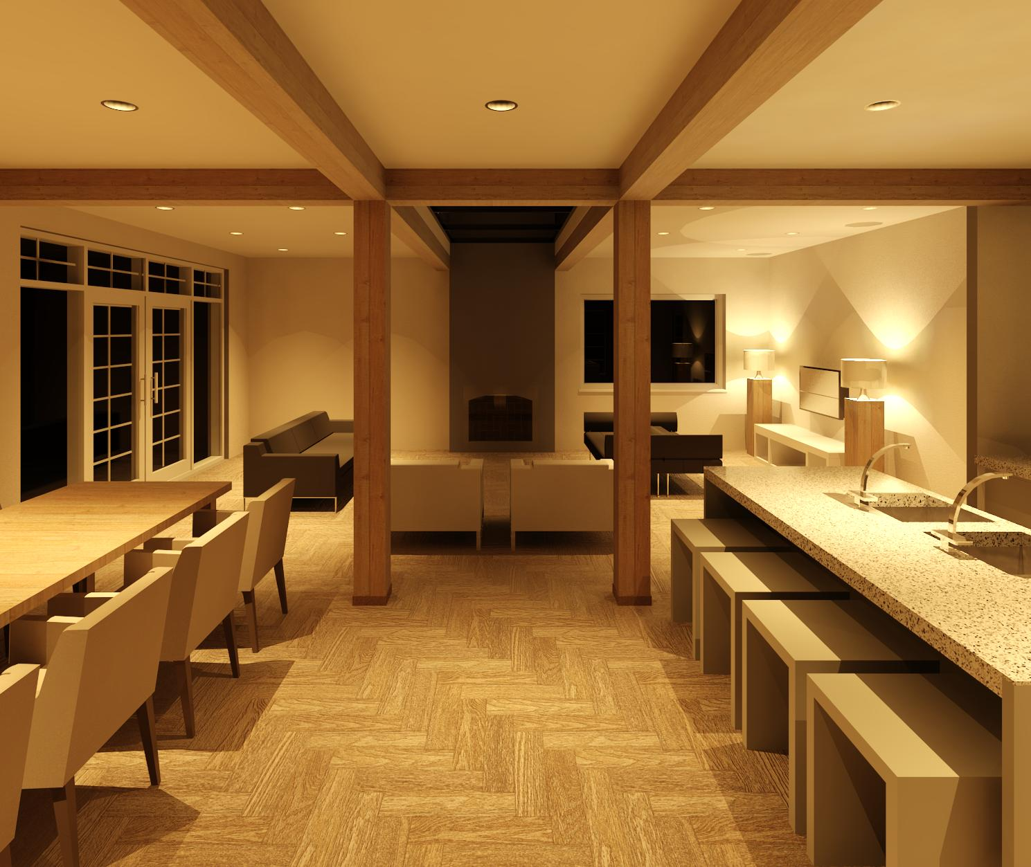 3D visualization - kitchen & dining