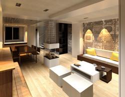 View of kitchen en sitting area