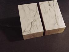 false Carrara marble -plaster and graphite on wood 20x30x15 cm 2017