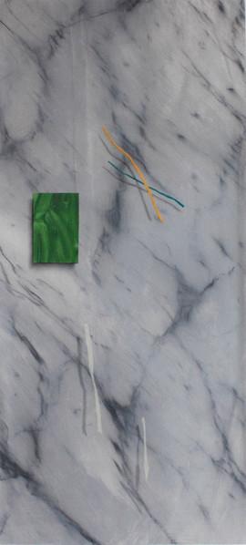 trompe l'oeil false Carrara marble, acrylic and compressed pigment on paper 70x160 cm 2016