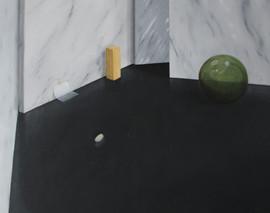 natura morta con palla di cristallo, oil and acrylic on line 2016