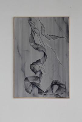 il segreto del marmo è una linea che corre nello spazio, compressed pigment and acrylic on linen 60x40 cm 2016