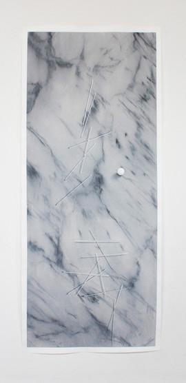 trompe l'oeil_02, acrylic and graphite on paper 70x160cm 2016