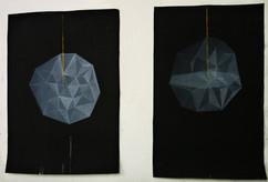 due anime che girano su se stesse, acrilico su tela 40x80 l'una 2012