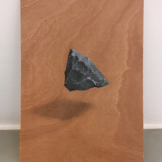 floating object. acrylic and graphite on wood. 22x30cm 2018