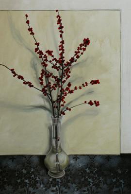vaso con fiori, oil and acrylic on linen 70x100 cm circa 2014