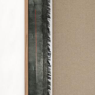 frottagr_06 | 2019, olio e stampa da disegno originale a grafite su tela e cornice in rovere, 182 x 97 cm