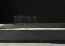 l'autunno olio e matita bianca su carta nera 100x70 cm 2013