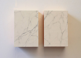 false Carrara marble graphite and plaster on wood 20x30x10cm 2014