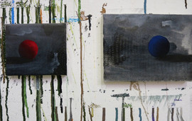solitudini . acrilico, tempera e matita bianca su tela 10x15 cm 2012