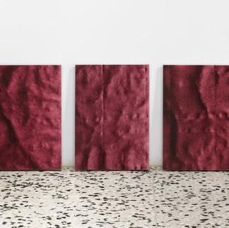frottage_Madonna delle rocce | 2019, trittico, olio su tela 39,6 x 28  cm