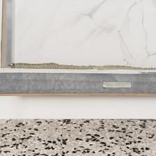 flesh | 2019, recto-verso doppia intelaiatura indivisibile, olio, pelle di serpente e stampa da disegno originale a grafite su tela e cornice in rovere, 182 x 97 cm
