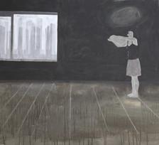 studio sulla noia della condizione umana . acrilico e matita bianca su lino . 60x70 cm 2010 collezione privata