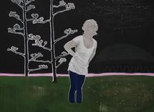 l'osservatorio . acrilico e matita bianca su lino . 80x110 cm . 2011 collezione privata