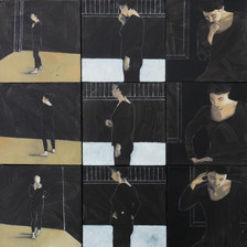io non io . olio acrilico su tela 9tele 20x20 cm 2010 collezione privata