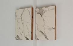 false Carrara marble, plaster and graphite on wood, 35x48 ech 2015