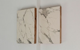 false Carrara marble, plaster and graphite on wood, 35x48 ech 2015