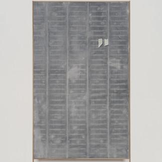 frottagr_05 | 2019, olio e stampa da disegno originale a grafite su tela e cornice in rovere, 182 x 97 cm