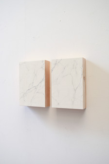false Carrara marble, graphite and plaster on wood 20x30x10 cm 2015