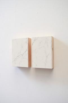 false Carrara marble, plaster and graphite on wood, 20x30 ech 2014