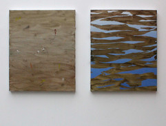 osservando il canale, acrylic on canvases, 40x50 each 2017