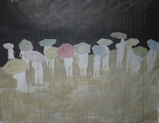 studio per siamo soli come una pecora bianca nel suo gregge . acrilico e matita bianca su lino 80x100cm 2010