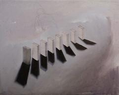 domino, olio, acrilico e grafite su tela