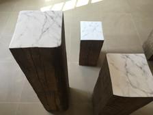 false Carrara marble - plaster and graphite on wood 2018
